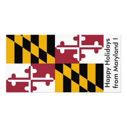 Flag of Maryland, Happy Holidays from U.S.A. Photo Card