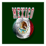 Flag of Mexico ball with Mexico worded logo gifts Posters
