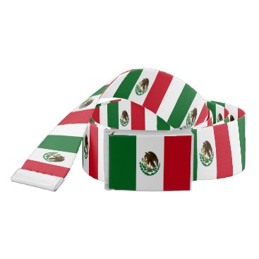 Aztec Themed Flag of Mexico Belt