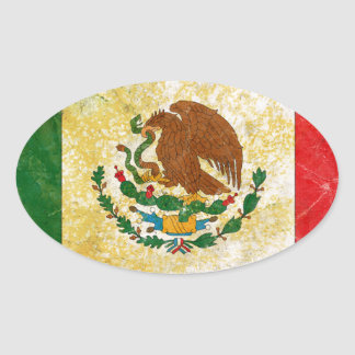 Flag of Mexico Grunge Oval Sticker