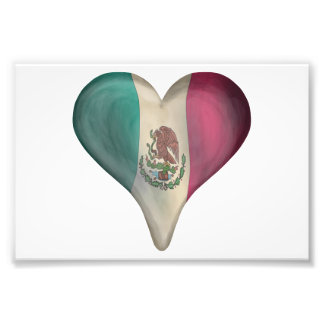 Flag Of Mexico In A Heart Photo Print