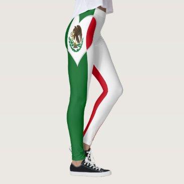 Aztec Themed Flag of Mexico Leggings
