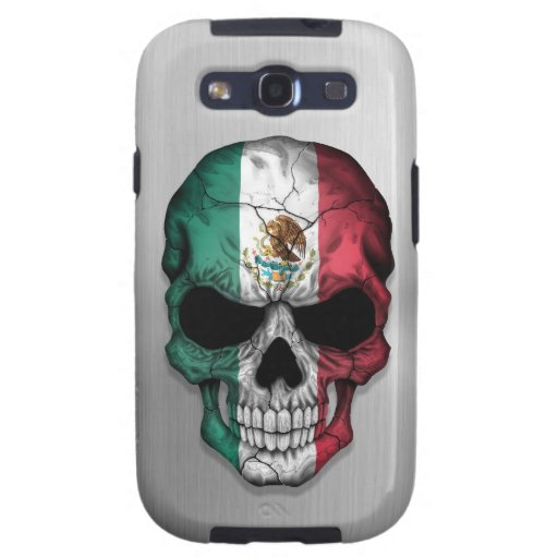 Flag of Mexico on a Steel Skull Graphic Galaxy SIII Cases