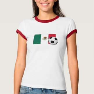 Flag of Mexico with Soccer Ball Ladies Ringer Tee