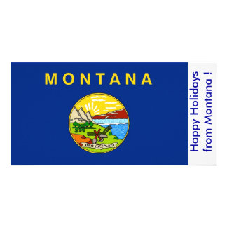 Flag of Montana Happy Holidays from U S A Photo Greeting Card