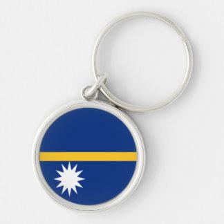 Flag of Nauru Silver-Colored Round Keychain