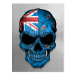 Flag of New Zealand on a Steel Skull Graphic Postcard