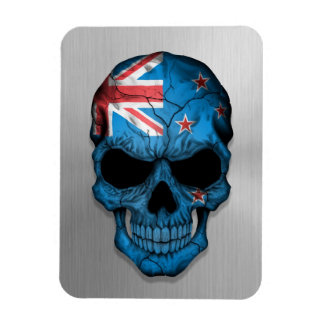 Flag of New Zealand on a Steel Skull Graphic Magnets
