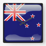 Flag of New Zealand Square Wall Clock