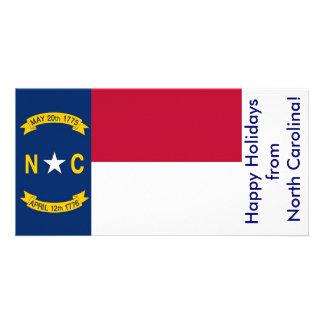 Flag of North Carolina, Happy Holidays from U.S.A. Card