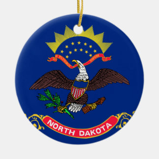 Flag of North Dakota Double-Sided Ceramic Round Christmas Ornament