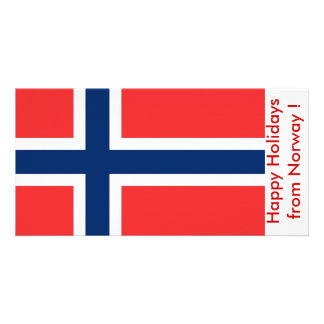 Flag of Norway Happy Holidays from Norway Personalized Photo Card