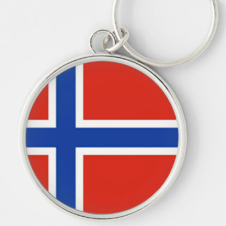 Flag of Norway Silver-Colored Round Keychain