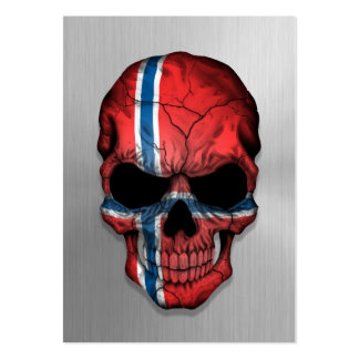 Flag of Norway on a Steel Skull Graphic Business Card Template