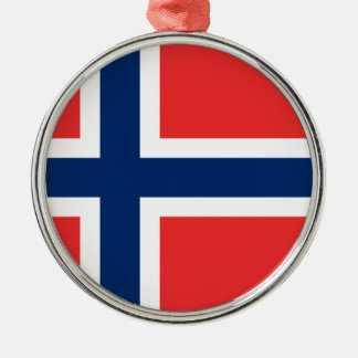 Flag of Norway Round Metal Christmas Ornament