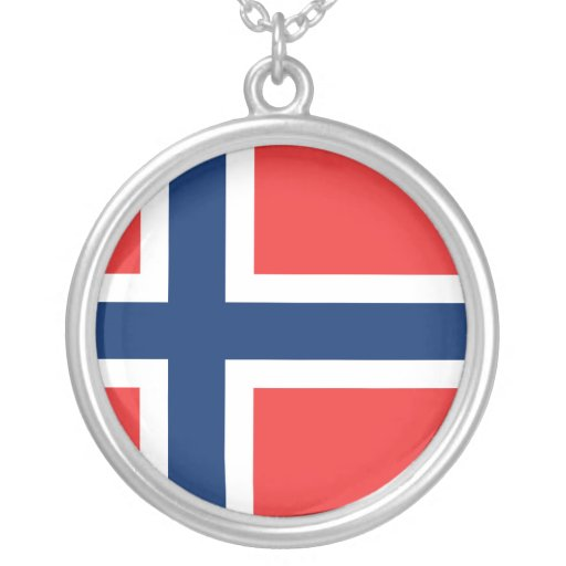 Flag of Norway Round Pendant Necklace