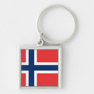Flag of Norway Silver-Colored Square Keychain