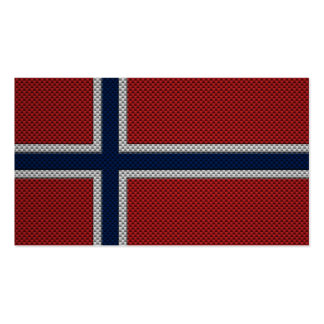 Flag of Norway with Carbon Fiber Effect Business Card Templates