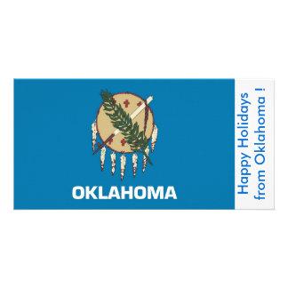 Flag of Oklahoma, Happy Holidays from U.S.A. Card