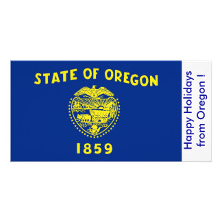 Flag of Oregon, Happy Holidays from U.S.A. Card