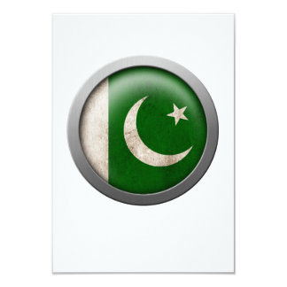 Flag of Pakistan Disc 3.5x5 Paper Invitation Card