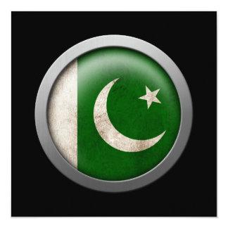 Flag of Pakistan Disc 5.25x5.25 Square Paper Invitation Card