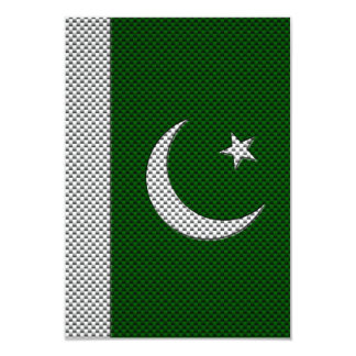 Flag of Pakistan with Carbon Fiber Effect 3.5x5 Paper Invitation Card