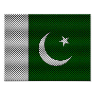 Flag of Pakistan with Carbon Fiber Effect Poster