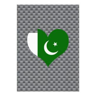 """Flag of Pakistani on metal background 5"""" X 7"""" Invitation Card"""