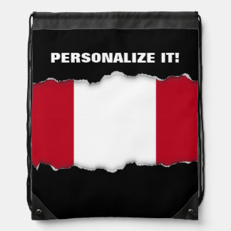 Flag of Peru Drawstring Backpack