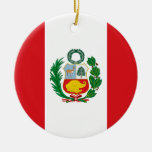 Flag of Peru Double-Sided Ceramic Round Christmas Ornament