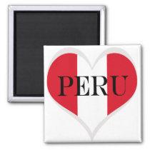 Flag of Peru Pabellón Nacional heart Magnet