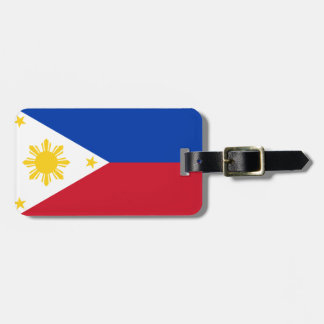 Flag of Philippines Luggage Tag w/ leather strap
