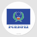 Flag of Pohnpei, with name Classic Round Sticker