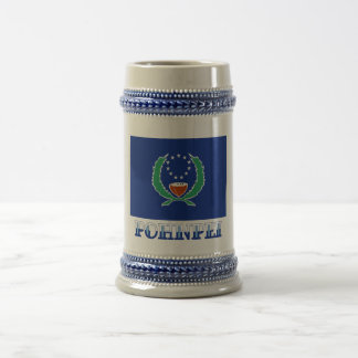 Flag of Pohnpei, with name 18 Oz Beer Stein