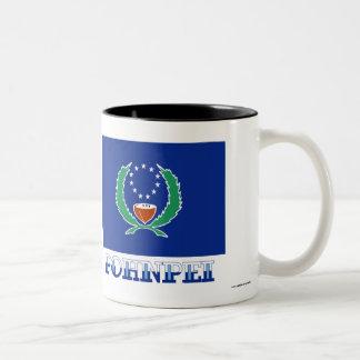 Flag of Pohnpei, with name Two-Tone Coffee Mug