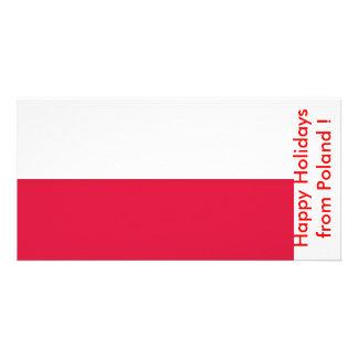 Flag of Poland Happy Holidays from Poland Custom Photo Card