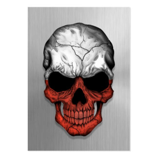 Flag of Poland on a Steel Skull Graphic Large Business Card