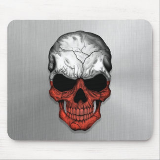 Flag of Poland on a Steel Skull Graphic Mouse Pad