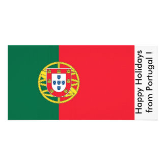 Flag of Portugal Happy Holidays from Portugal Customized Photo Card