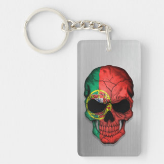 Flag of Portugal on a Steel Skull Graphic Double-Sided Rectangular Acrylic Keychain