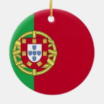 Flag of Portugal Double-Sided Ceramic Round Christmas Ornament