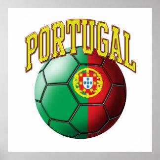 Flag of Portugal Soccer Ball Poster