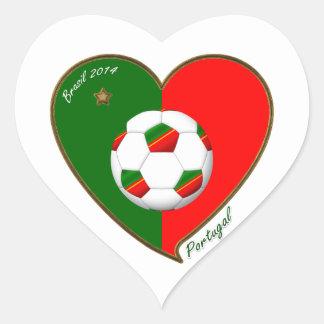 Flag of PORTUGAL SOCCER of national team 2014 Heart Sticker