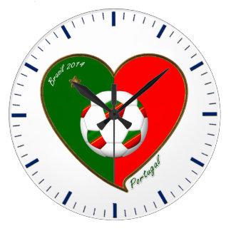 Flag of PORTUGAL SOCCER of national team 2014 Large Clock