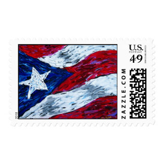 Flag of Puerto Rico - Artwork by Galina Postage