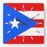 Flag of Puerto Rico Clock (With Numbers)