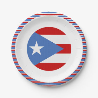 Flag of Puerto Rico Dessert Paper Plate