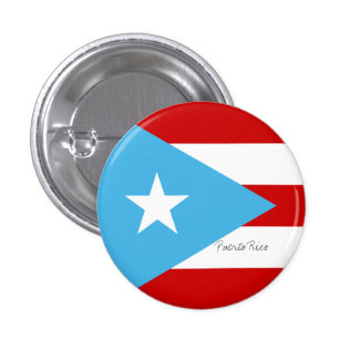 Flag of Puerto Rico Light Blue Red and White Pinback Button