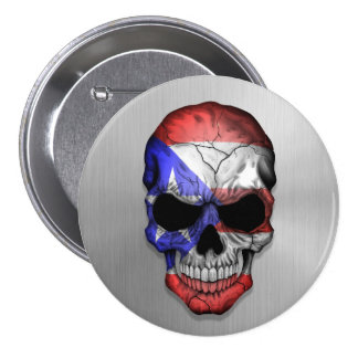 Flag of Puerto Rico on a Steel Skull Graphic Pinback Buttons